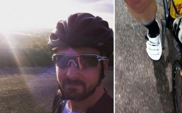 Dos imágenes de Ed, una de su cara y otra pedaleando